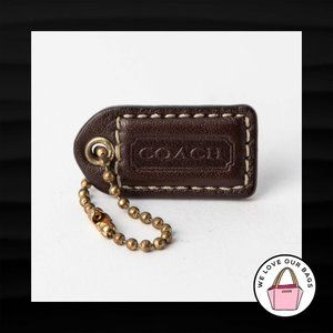 1.5″ Small COACH BROWN LEATHER BRASS KEY FOB CHARM